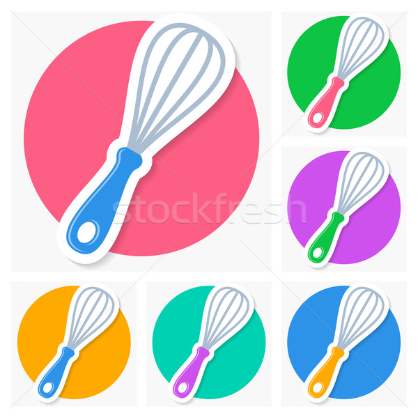 Whisk icons with shadow collection Stock photo © blumer1979