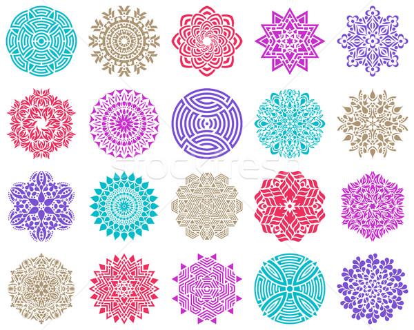 カラフル 幾何学的な 抽象的な 曼陀羅 コレクション ファッション ストックフォト © blumer1979