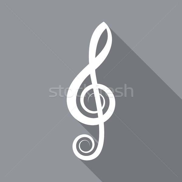 White vector treble clef flat icon Stock photo © blumer1979
