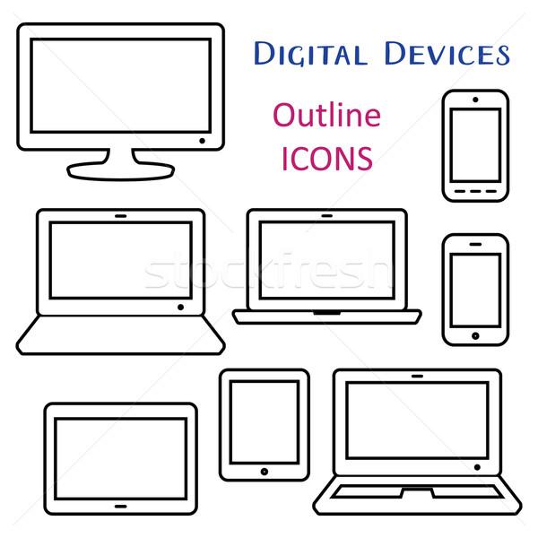 Black vector digital device outline icons Stock photo © blumer1979