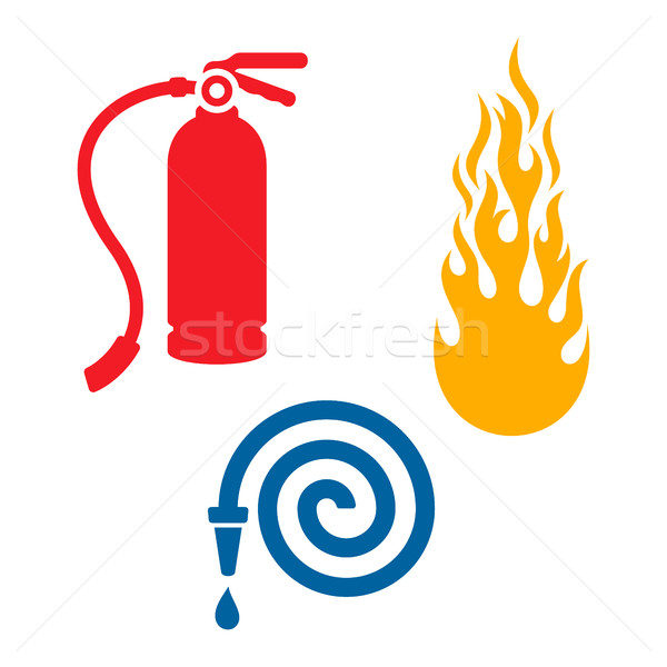 Fireman icons isolated on white Stock photo © blumer1979