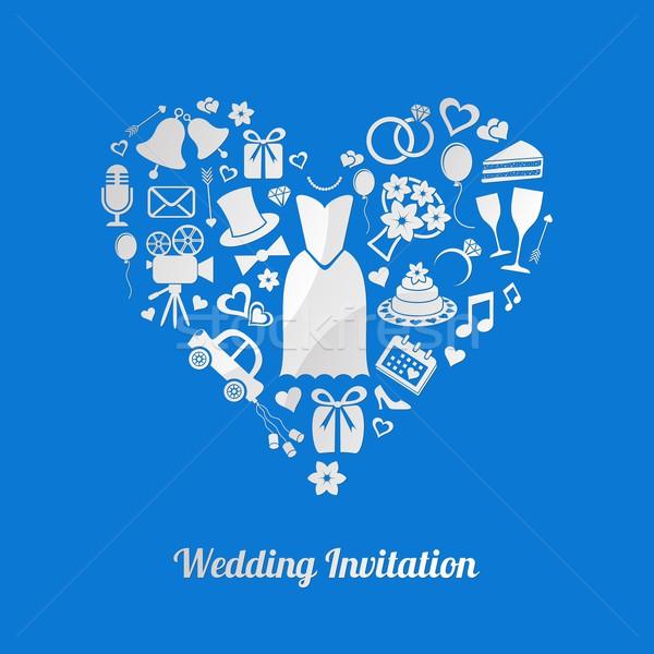 Invitation de mariage bleu vecteur mariage design Photo stock © blumer1979