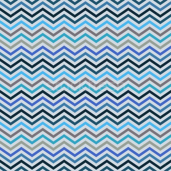 Zikzak geometrik etnik model mavi Stok fotoğraf © blumer1979