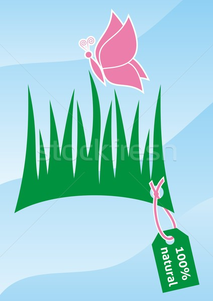 100 pour cent naturelles symbole herbe papillon Photo stock © blumer1979