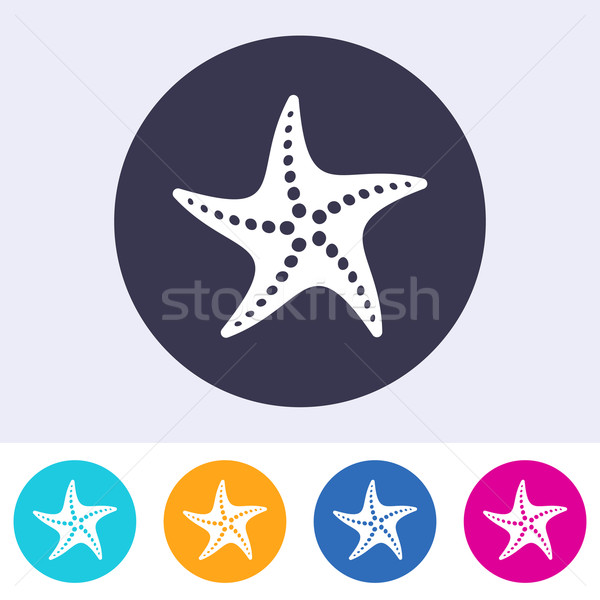 Vecteur starfish icône coloré boutons eau Photo stock © blumer1979
