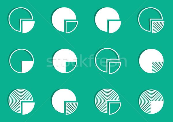 Cirkeldiagram diagram iconen witte vector groene Stockfoto © blumer1979