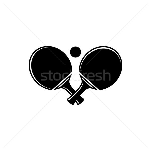 Masa tenisi ayarlamak siyah vektör ikon yalıtılmış Stok fotoğraf © blumer1979
