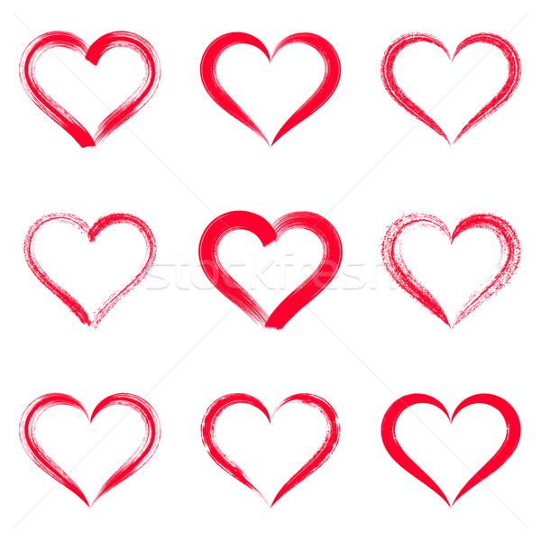 Piros vektor ecsetvonások szívek körvonalak Valentin nap Stock fotó © blumer1979