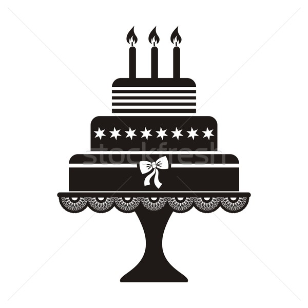 именинный торт черный силуэта икона продовольствие рождения Сток-фото © blumer1979