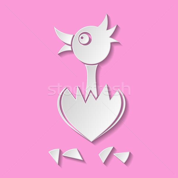 Kip witte cute hart eierschaal Stockfoto © blumer1979