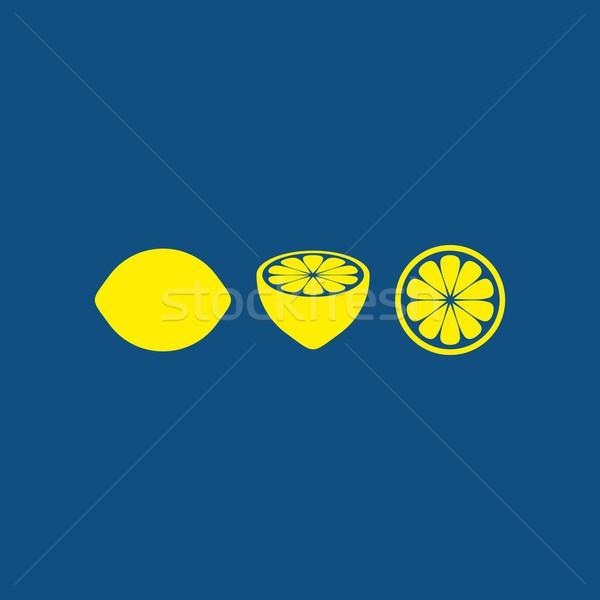 レモン 単純な 暗い 青 カード 3 ストックフォト © blumer1979