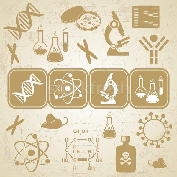 Molecolare biologia scienza carta grunge icone Foto d'archivio © blumer1979