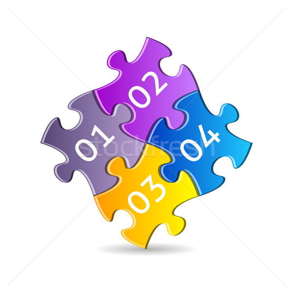 Stockfoto: Kleurrijk · puzzelstukjes · vier · samen · nummers · business