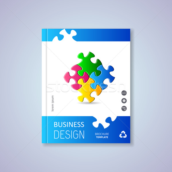 Brochure design with puzzle pieces Stock photo © blumer1979