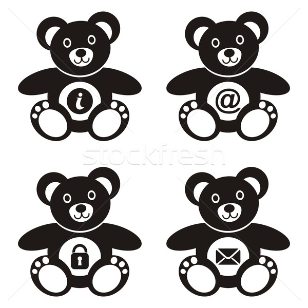 Plüssmackók négy aranyos fekete webes ikonok szeretet Stock fotó © blumer1979