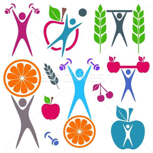 Saúde comida ícones colorido alimentação saudável fitness Foto stock © blumer1979