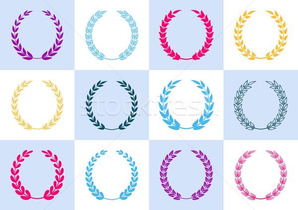 Laurel colorido vector colección marco azul Foto stock © blumer1979