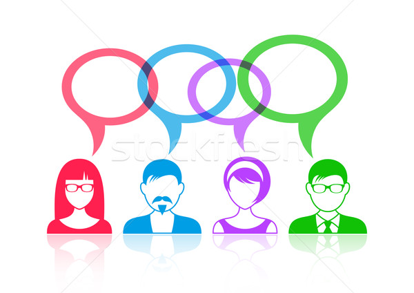 Stock photo: People icons with speech bubbles