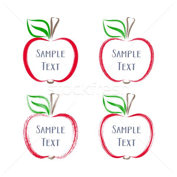 Színes vektor ecsetvonások almák skicc illusztrációk Stock fotó © blumer1979