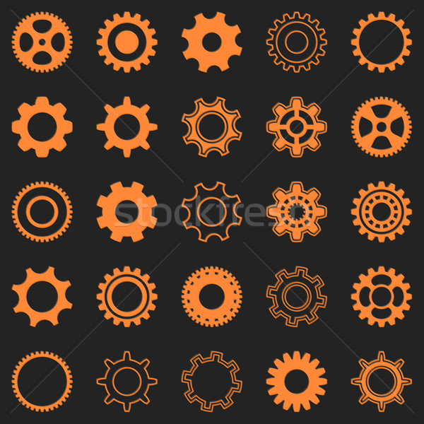 Vector orange gear wheel icons Stock photo © blumer1979