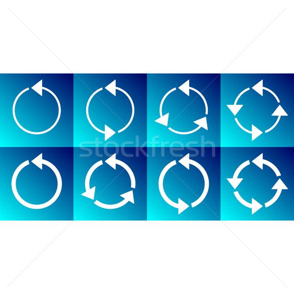 White rotating circle arrows collection Stock photo © blumer1979