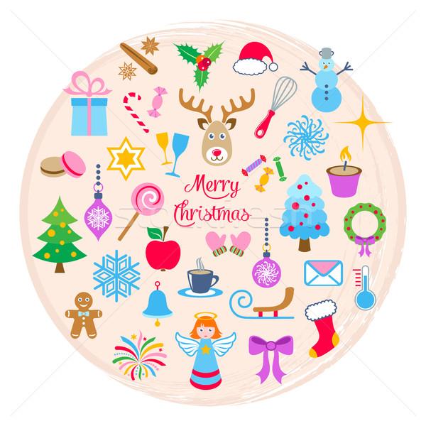Foto stock: Vector · Navidad · iconos · creativa · colorido