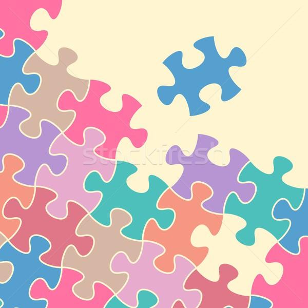 Stok fotoğraf: Bilmece · vektör · soyut · renkli · puzzle · parçaları · arka · plan