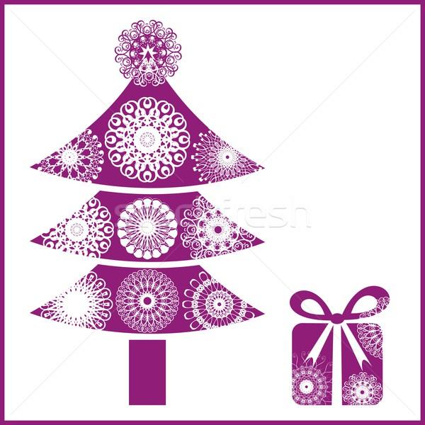 Arbre de noël magenta cadeau arbre enfants hiver Photo stock © blumer1979
