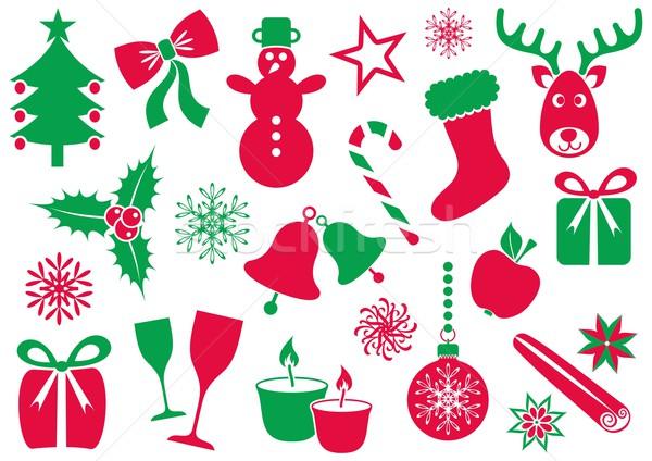 Noël hiver icônes ensemble vecteur rouge Photo stock © blumer1979