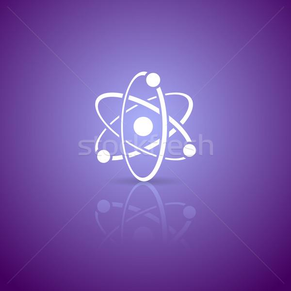 Atomo icona bianco vettore viola gradiente Foto d'archivio © blumer1979