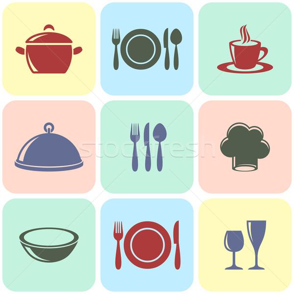 ストックフォト: 料理 · レストラン · メニュー · アイコン · ヴィンテージ · 正方形