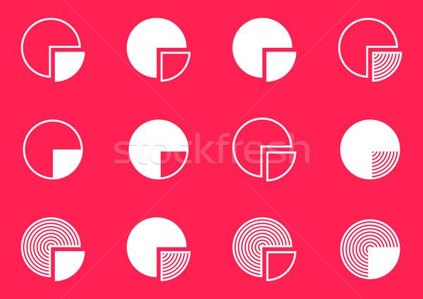 диаграмма иконки коллекция белый вектора Сток-фото © blumer1979