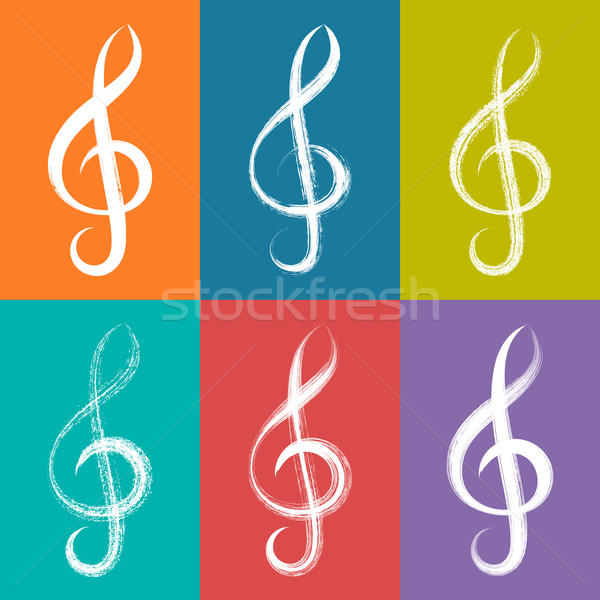 White vector treble clef icons Stock photo © blumer1979