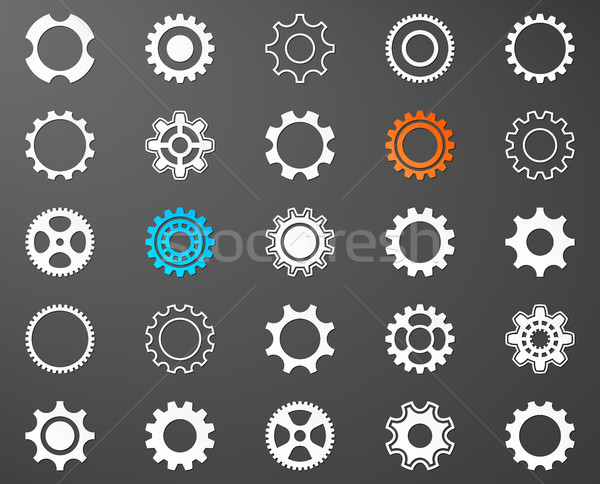 Collection of white gear wheel icons Stock photo © blumer1979