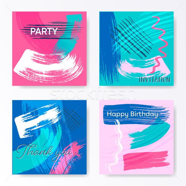 Vektor kreatív művészi tér kártyák kártya Stock fotó © blumer1979