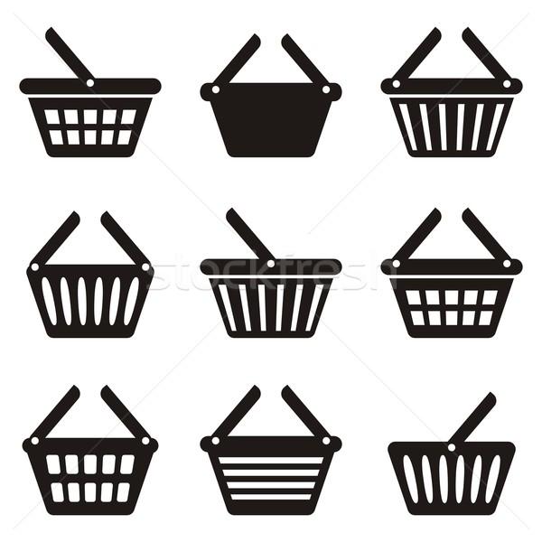 Panier icône noir icônes ensemble blanche Photo stock © blumer1979