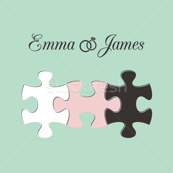 Invitation de mariage menthe trois pièces de puzzle femme mariage Photo stock © blumer1979