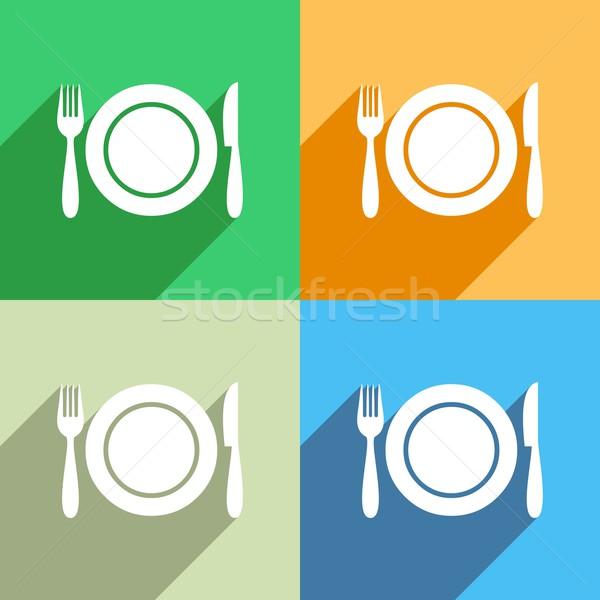 Menú icono blanco colorido fondos resumen Foto stock © blumer1979