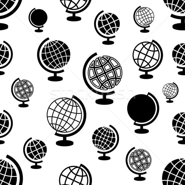 Stockfoto: Naadloos · vector · patroon · globes · zwarte