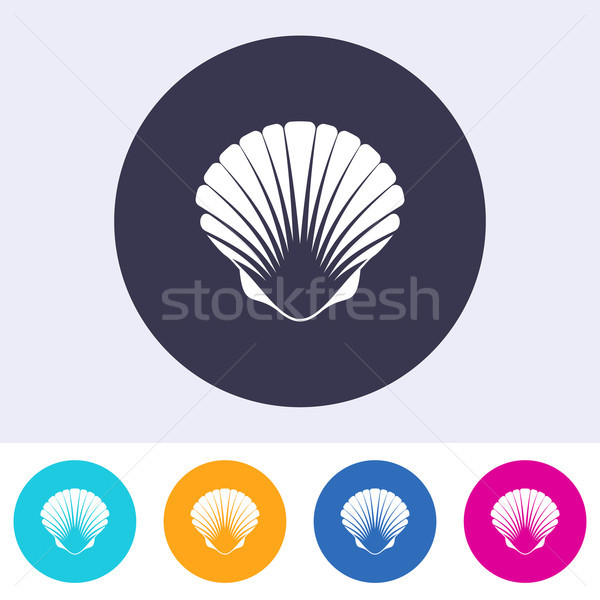 Vector scallop seashell icon Stock photo © blumer1979