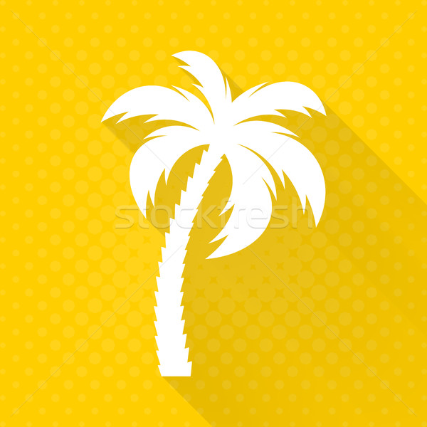 Stock photo: White vector palm tree flat icon