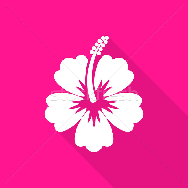 Hibiskus · Blume · Symbol · lange · Schatten · weiß - vektor ...