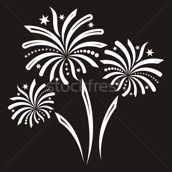 Feux d'artifice belle blanche vecteur isolé noir Photo stock © blumer1979