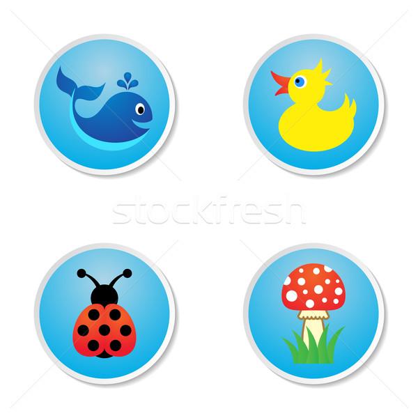 Stock fotó: Baba · ikonok · négy · aranyos · színes · kék