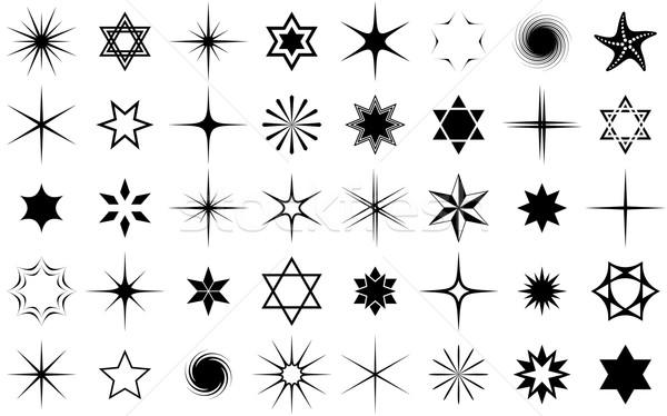 Wektora gwiazdki kolekcja czarny odizolowany biały Zdjęcia stock © blumer1979