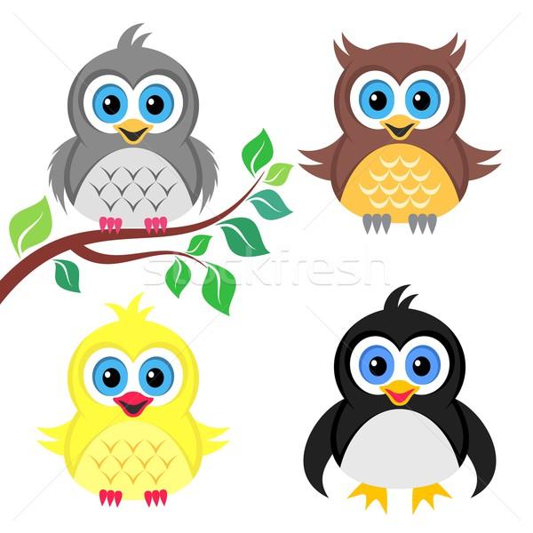 Colorat Copil Păsări Drăguţ Vector Bufniţă