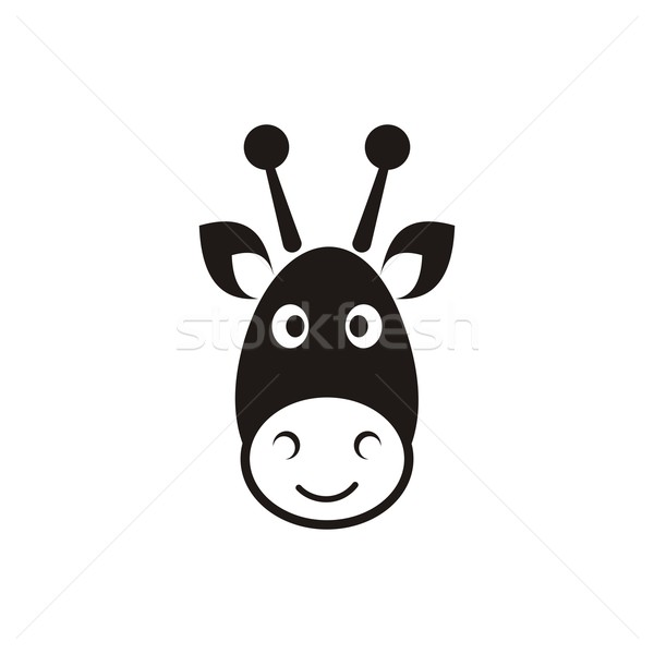 Girafe tête icône cute noir vecteur Photo stock © blumer1979
