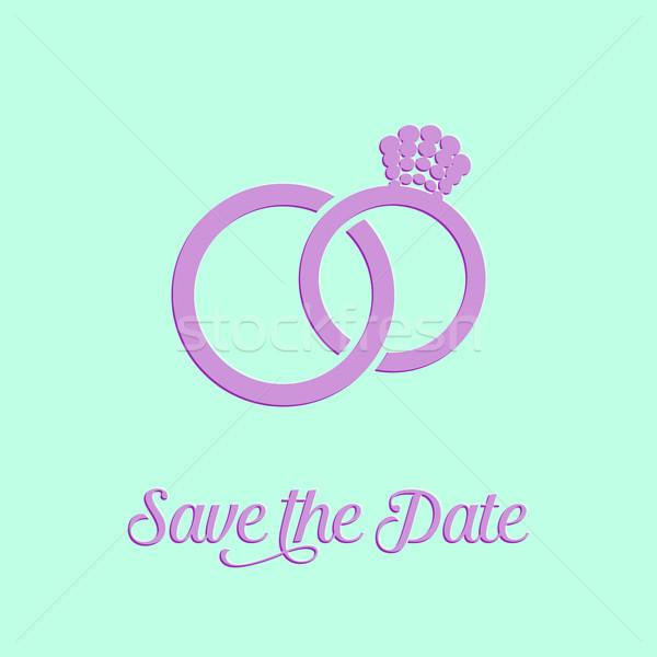 Cartão anéis de casamento ícone de abstrato Foto stock © blumer1979