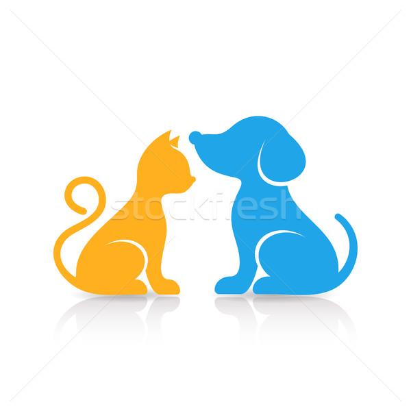 Coloré cute chat chien silhouettes réflexion Photo stock © blumer1979