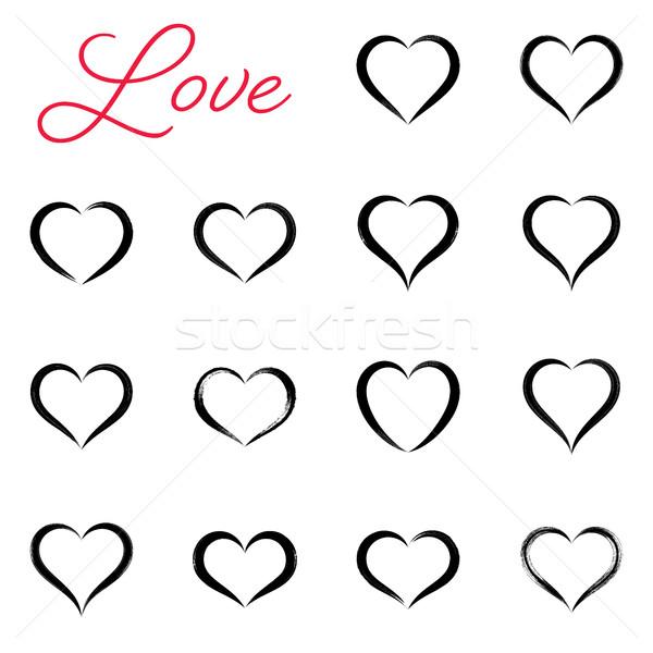 Black simple hand drawn vector heart icons Stock photo © blumer1979
